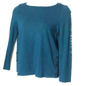 J Jill Ponte side button pull over sweater